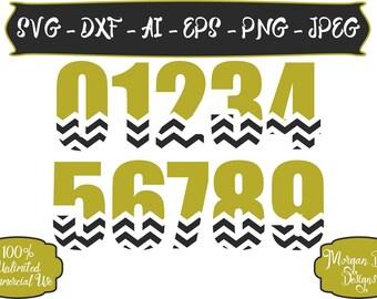 First Birthday SVG - Chevron Number SVG - Chevron Birthday SVG - Birthday Number svg - Files for Silhouette Studio/Cricut Design Space