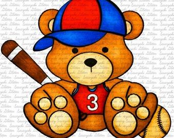 Baseball Teddy Digital Stamp By Sasayaki Glitter
