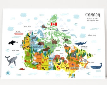 Children's Canada Map Poster, Unique Baby Gifts, Map of Canada, Travel Map, Canvas, Nursery Decor, Nursery Art, Baby Gift, Toronto, Quebec