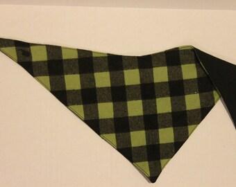 Green Checkered Drool Bandana
