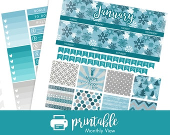 50% Off Printable Planner Stickers January Monthly View Kit! w/ Cut Files!  Let it Snow/Winter Theme! For use with Erin Condren!