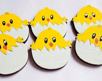 Painted wood brooch - chick in eggshell