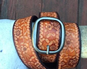 Floral Leather Belt