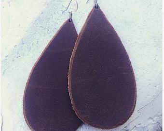 Brown Large Leather Drop Earrings