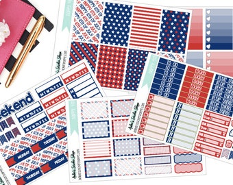 Happy 4th Fourth of July Weekly Kit for Happy Planner Planner Stickers