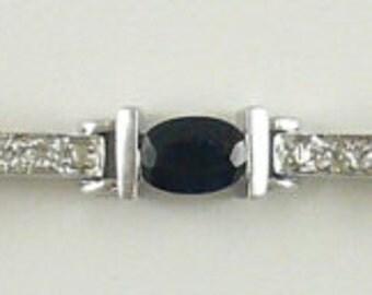 Sapphire Bracelet 5.05ct -14k White Gold & Diamonds 0.62ct