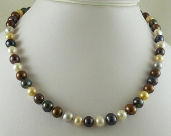 """Freshwater Multicolor Pearl Necklace 14k White Gold Fish Lock 18"""""""