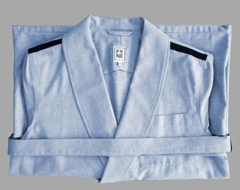 Dressing Gown OXFORD sky blue bathrobe house coat