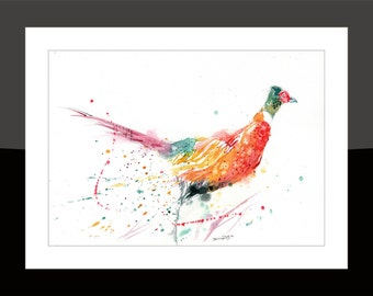 SkinnyDaz -A3 Pheasant Print of my Original Watercolour Painting - Open Edition