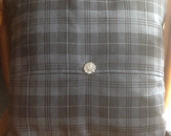 "Grey Granite Scottish Tartan Cushion Cover & Pad 18"" x 18"""