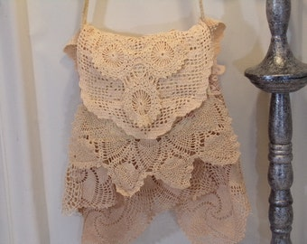 Shoulder Bag Boho Shabby Layered Doilies Flap Over Sandstone R6-09