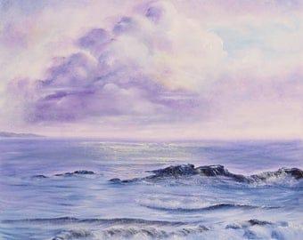 Large Coastal Painting, California Wall Art, Sunrise over Ocean Painting, Coastal Landscape, Original Oil Painting on Canvas, Dream Away