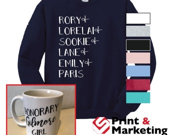Set of Gilmore Girls Character Names Crew neck and Honorary Gilmore Girls Mug / Girls of Gilmore / Lukes Diner / Stars Hollow / Gilmore Girl