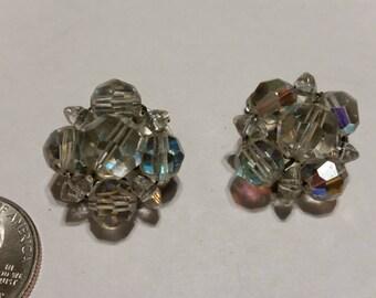 Vintage Aurora borealis bead clip earrings badr