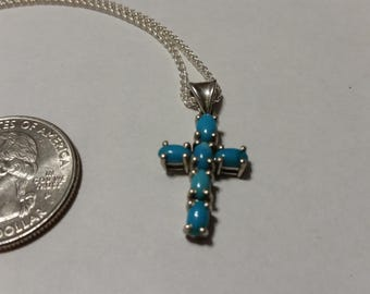 """Vintage sterling silver 18"""" turquoise CAB cross necklace baer"""