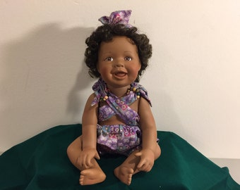African American Doll, Ashton Drake Doll, Collectible Porcelain Doll