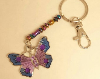 Butterfly key chain,Purse charm, Purple key chain, Purple butterfly key chain, Purple butterfly, Beaded key chain