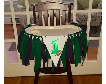 Eagles Football Party Highchair Banner, Football Themes Baby's 1st Birthday Banner