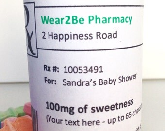 "10 Personalized prescription ""pill"" bottles (Candy)"