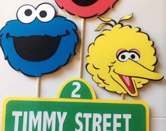 Sesame Street Character cutouts for centerpieces/ DIY/Elmo/Cookie Monster/ Big bird/ street sign