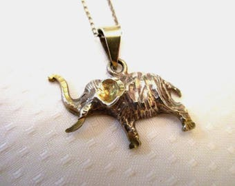 Vintage Sterling Silver Elephant Pendant Necklace, with Trunk Turned Up For Good Luck