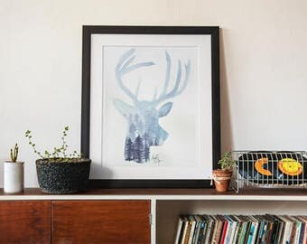 Blue Forest Deer Print
