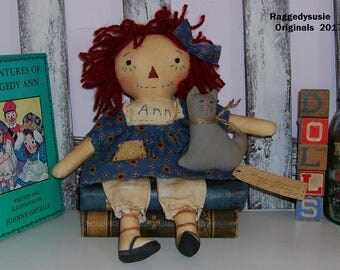 Primitive Raggedy Ann doll Annie with Kitty Cat and sunflower dress