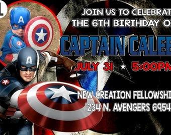 Items similar to Captain America Birthday Invitation, Captain ...