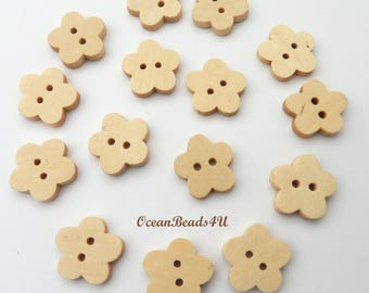 15 Wooden Buttons with two Holes, Flowers Wooden Buttons, Sewing Buttons, Printed Buttons, Wooden Buttons,  Holzknöpfe