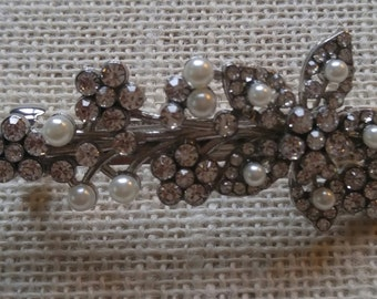 Crystal and Pearl Hair Barrette