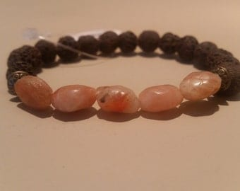 Sunstone and Brown Lava Diffuser Bracelet