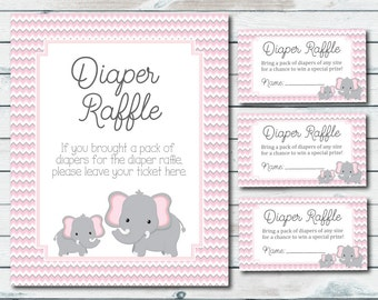 elephant baby shower diaper raffle tickets and sign pink and gray elephant diaper raffle inserts