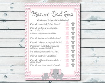 Mom Vs Dad Quiz Baby Shower Game, Pink And Gray Elephant Baby Shower Game Printable, Elephant Baby Shower Quiz, Mom Or Dad Trivia Quiz