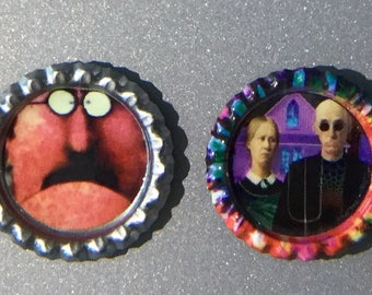 Pop Art Magnets, Bottle Cap Magnets, Chat Noir, Refrigerator Magnet, Retro, Kitchen Magnets, Terry Gilliam Art, Hippie, Free Shipping