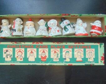 Vintage 1940's Porcelain Christmas Place card holders