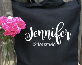 Black Bride Tote Bag, Bridal Tote, Bride Bag, Bridesmaid Tote, Personalized Tote, Bachelorette Tote, Wedding Tote, Wedding Day Tote