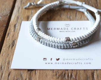 Set of 2 - Neutral Tone Knotted Bracelets - Couple Friendship Matching Macrame Set - Natural Colour Pattern