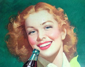 Original Coca Cola Tray, Vintage 1950s Coca Cola Tray, The Red Head The Girl with Wind in Her Hair Josephine Moore, 1948-1952, FREE SHIPPING