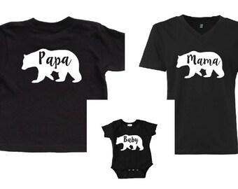 Mama Bear. Papa Bear. Baby Bear Set. Matching Shirts. Family Shirts. Mama Papa Baby Bear. Bear T shirts. Mama Bear Shirt. Papa Bear Shirt