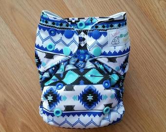 Blue Aztec cloth diaper - AIO cloth diaper - one size cloth diaper - newborn all in one - hemp bamboo - gender neutral - tribal - hipster