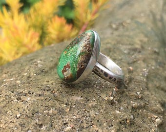 Turquoise Ring, Green Turquoise Ring, Sterling Silver Ring, Size 8 Ring, Alacran Turquoise Ring