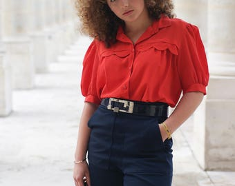 Blouse red vintage - retro shirt 80s and 90s - Made in France
