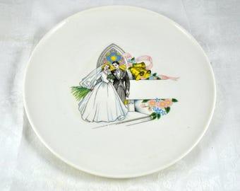 50s wedding plate, bride and groom plate, wedding dessert plate
