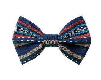 Blue Stripe Bohemian Dog Bow Tie, Cat Bow Tie, Pet Dog Bow Tie, Pet Dog Accessories, Pet Cat Accessories, Pet Dog Clothes, Pet Cat Clothes