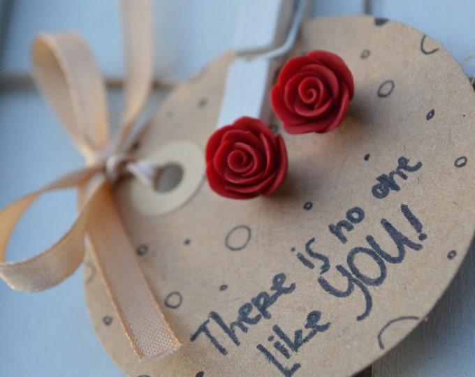 Handmade special gift for her - beautiful earrings - gift for daughter - red rose stud earrings - Mother's day gift - flower - Michaelacraft