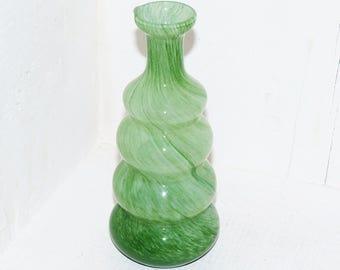 Art Glass Green Swirl Vase - 876