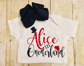 Customizable ONEDERLAND shirt- alice i  wonderland - onederful- onederland