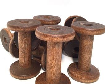 Wooden Silk Spools Industrial Quills Textile Spinning Bobbins Vintage Wood NOS Light to Medium Woodtone Lot of 10