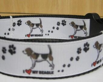 Beagle I love beagle Dog collar matching lead available