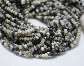 10 Strands, Dendrite Opal Beads, Opal Gem Stone, 3mm Beads, Faceted Rondelle, Gemstone For Jewelry, 13.5 Inches Strand